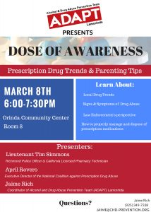 Dose of Awareness:  Prescription Drug Trends & Parenting Tips @ Orinda Community Center Room #8 | Orinda | California | United States