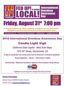 Sacramento International Overdose Awareness Day Candle Light Vigil @ State Capitol - West Side Steps | Sacramento | California | United States