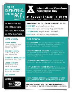 International Overdose Awareness Day Event:  Raleigh, NC @ Bicentennial Plaza | Raleigh | North Carolina | United States