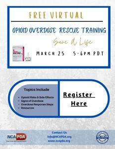 Opioid Overdose Rescue Training @ Virtual Zoom Session