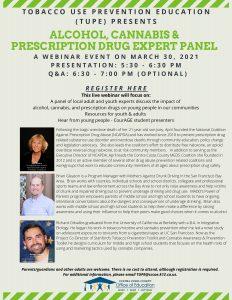 Alcohol, Cannabis & Prescription Drug Expert Panel @ Virtual via Zoom